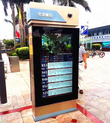 China Metal Case Outdoor Touch Screen Kiosk 65'' Android Taxi Bus Dual Wifi Advertising Display distributor